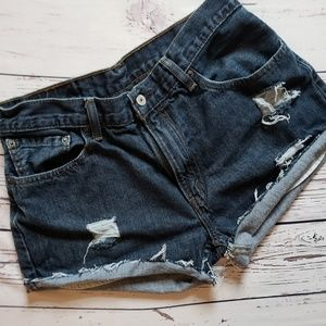 Levi's 505 High Waisted Jean Shorts